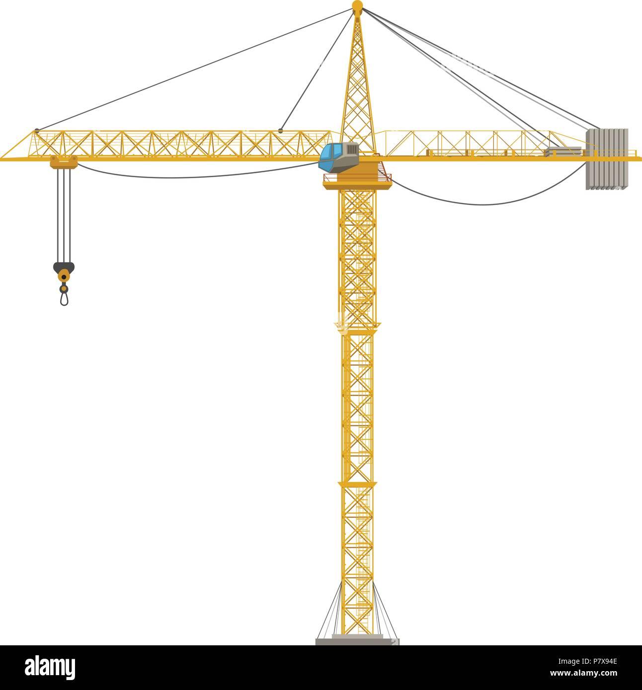 construction crane yellow - Stock Vector
