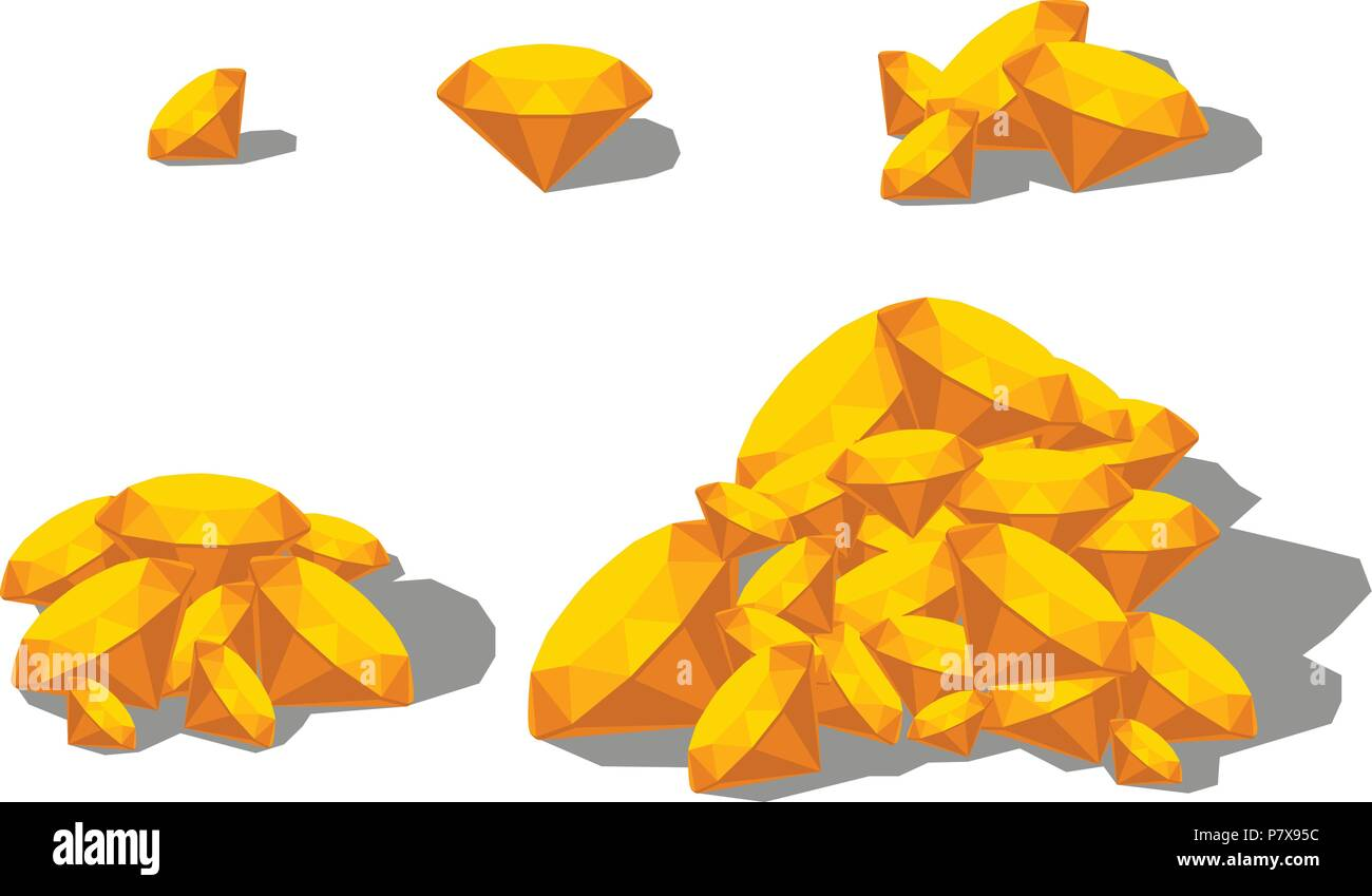 yellow color sapphire set - Stock Vector