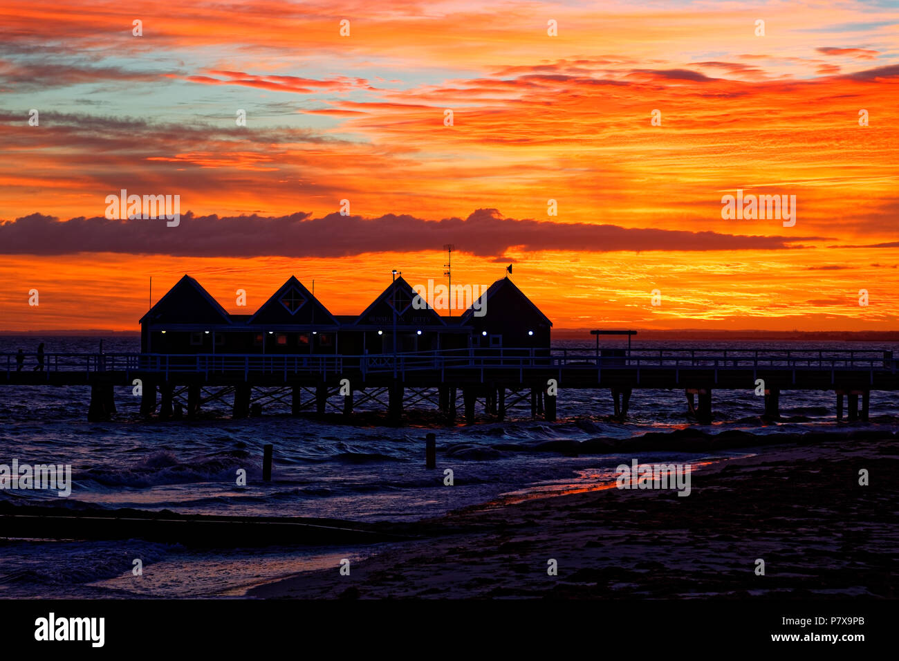 view of busselton jetty at sunrise stock photo 211405443 alamy