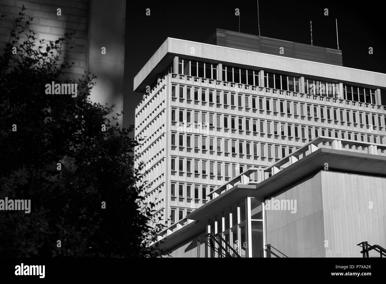 Monochromatic building, University of Wisconsin-Madison. Great for backgrounds and stock art. - Stock Image