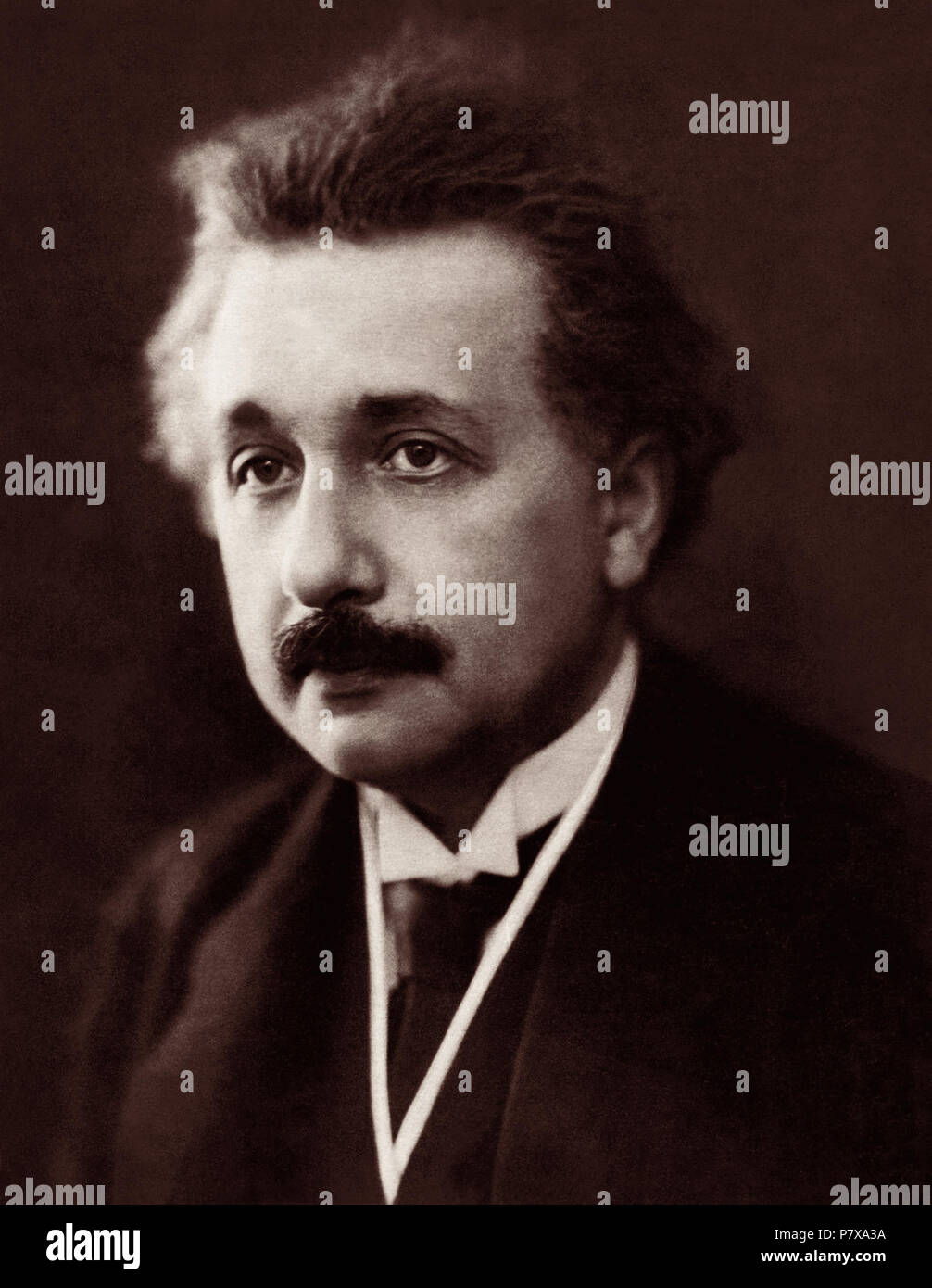 Albert Einstein portrait by Henri Manuel (likely from March 30, 1922 in Paris, France). Einstein won the Nobel Prize in Physics in 1921. - Stock Image