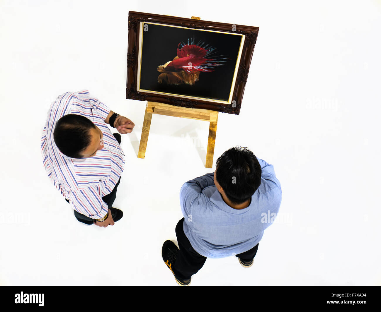 Two man talking about betta fish photo,setting on easel, in art exhibition, top view angle Stock Photo