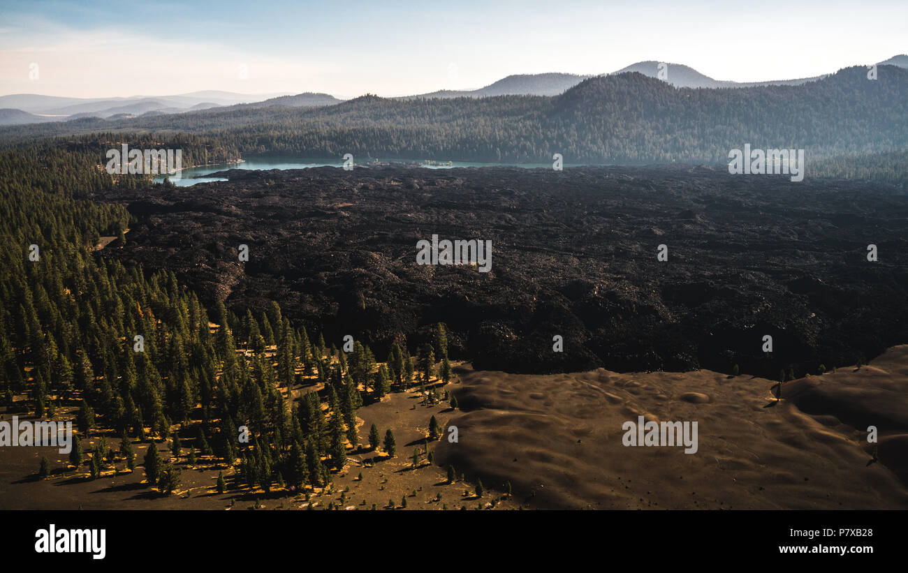 Butte Lake and the Fantastic Lava Beds as seen from the top of Cinder Cone. - Stock Image