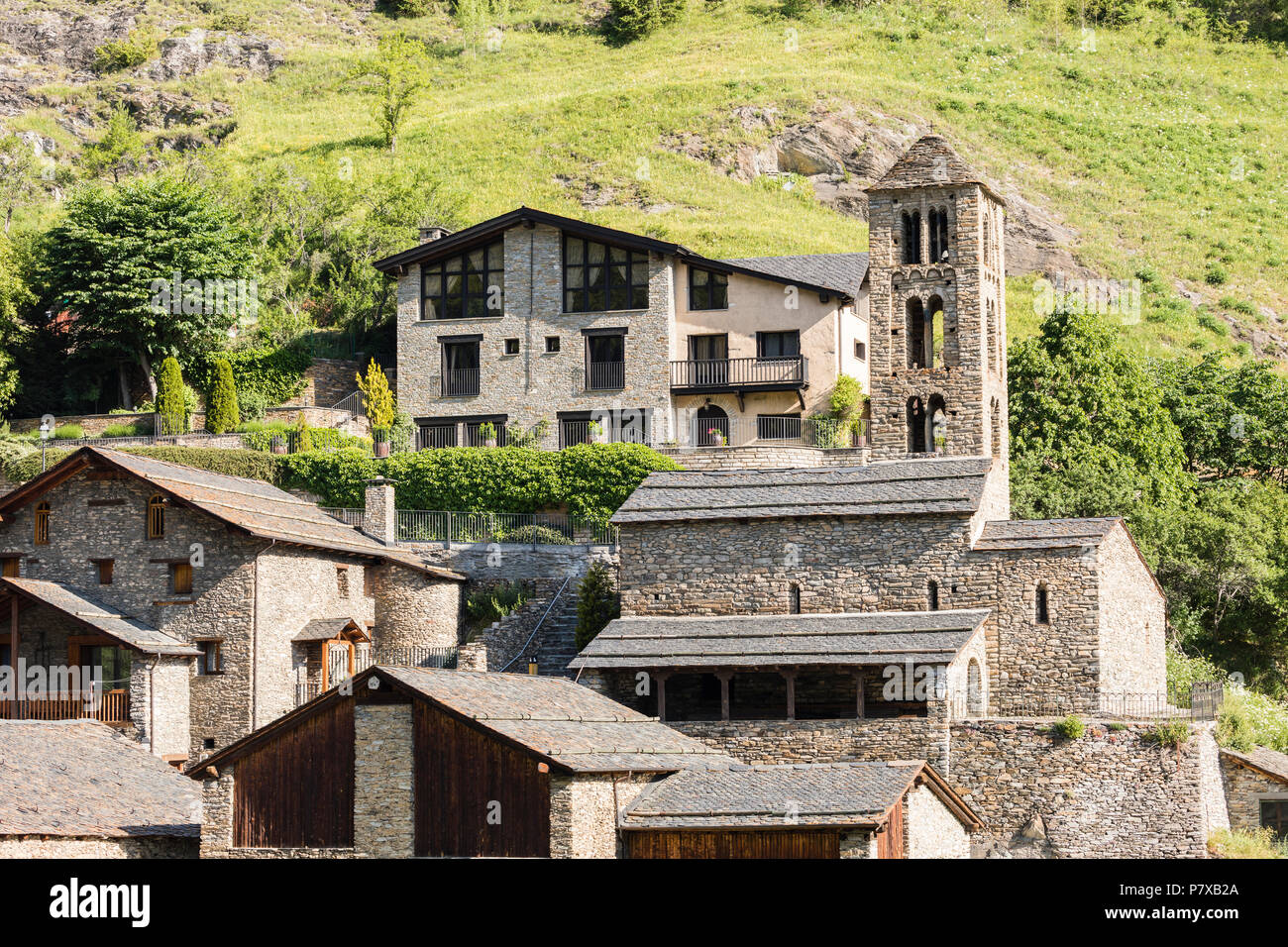 Village Pal in the Pyrenees in Andorra with the romanesque church - Stock Image
