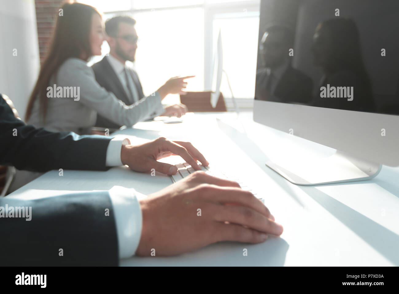 background image of a business meeting . - Stock Image