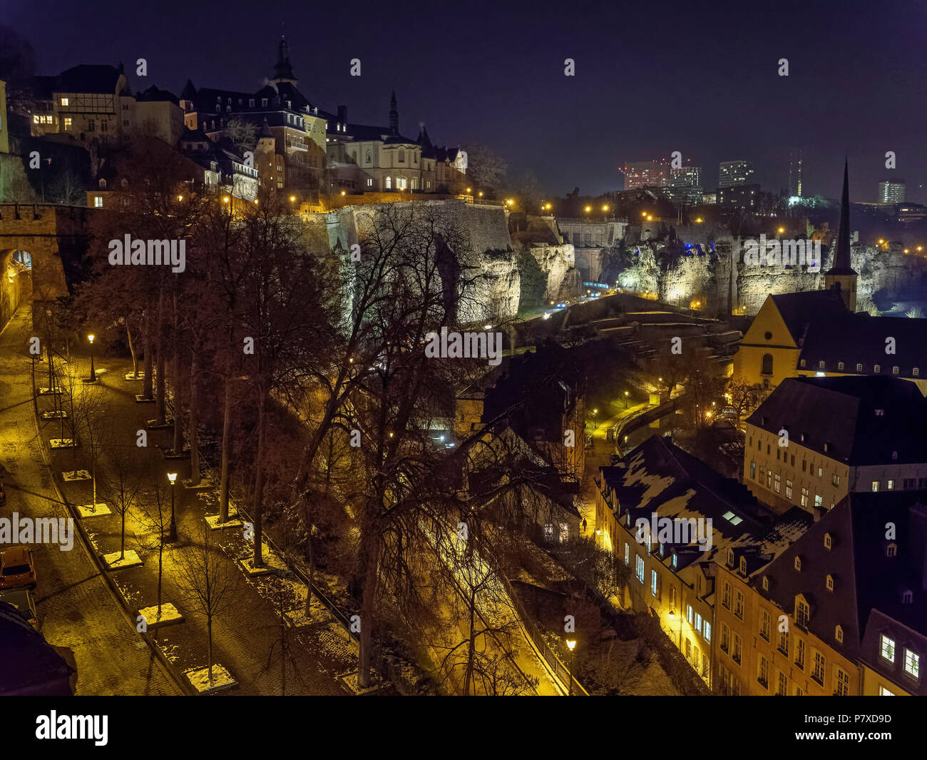 View over Grund, Bock-Casemate and European Center on Kirchberg, Luxembourg, Luxembourg City, Europe, UNESCO world heritage - Stock Image