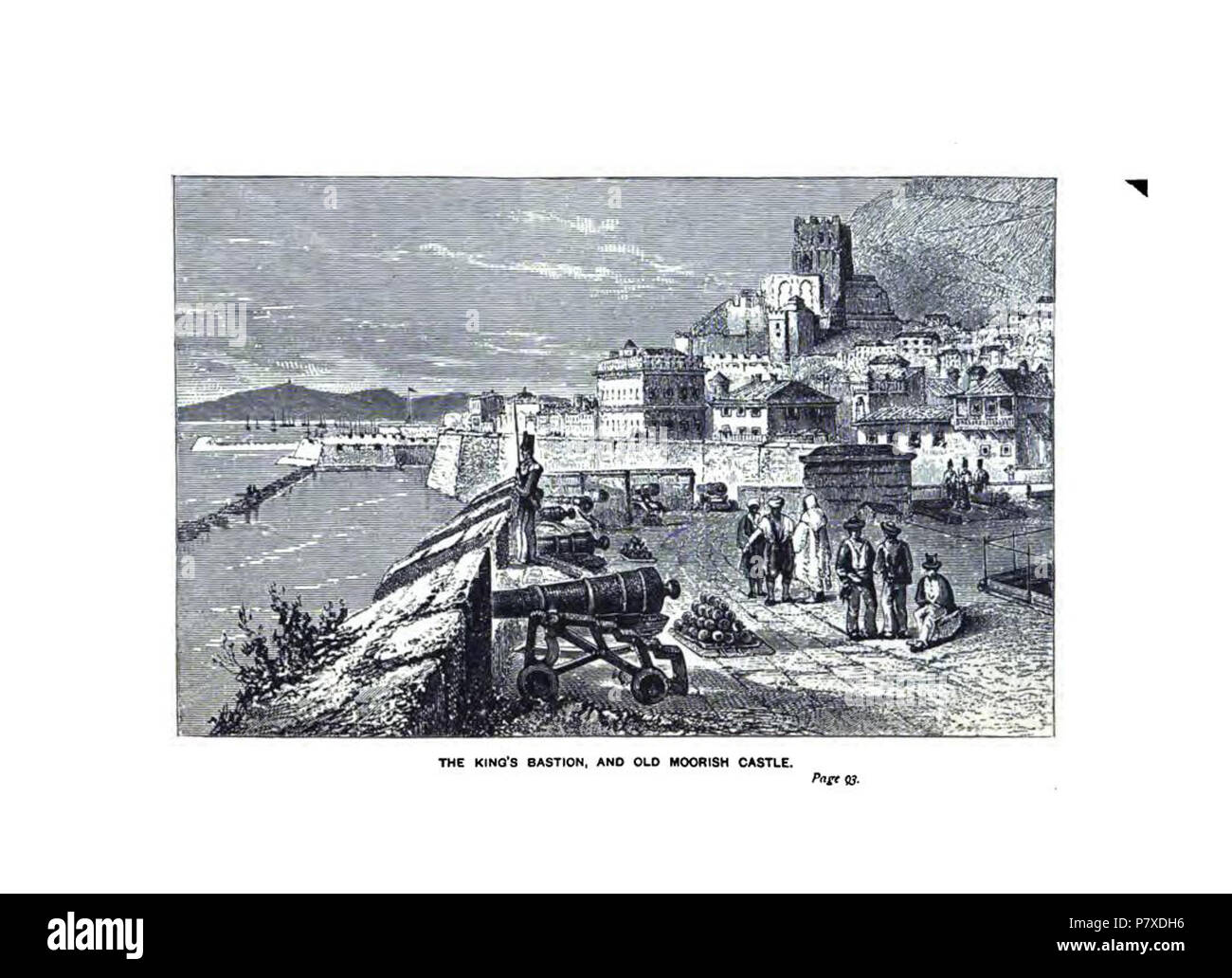 English: South Bastion and Moorish Castle- engravings from 'Sieges of Gibraltar' 1879 . 26 November 2012, 16:07:42 351 South Bastion and Moorish Castle - Stock Image