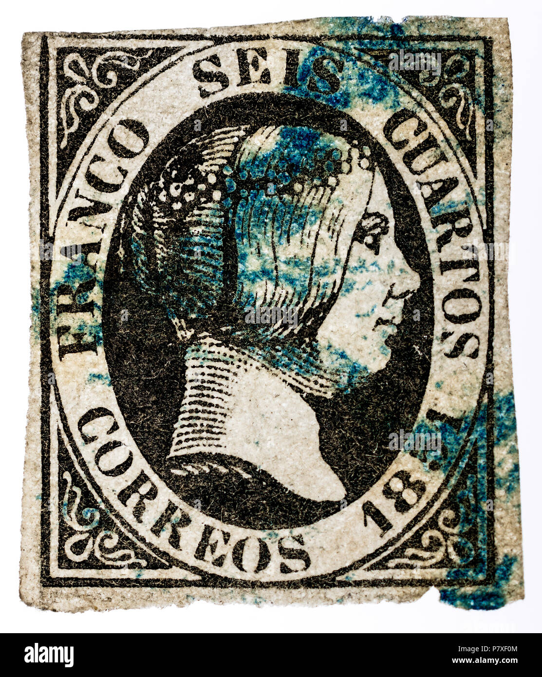 1851 Spanish Queen Isabella II postage stamp with rare blue postmark cancel.. - Stock Image