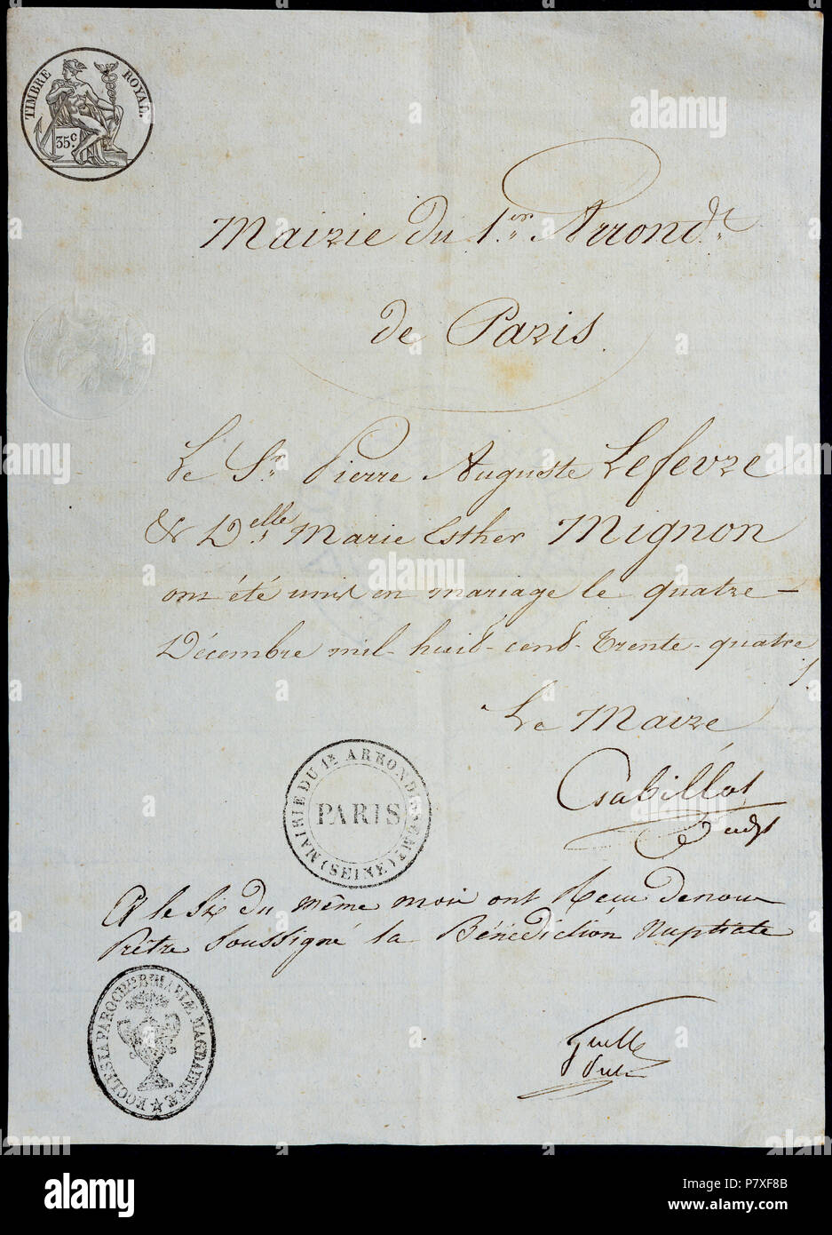 French 1834 Marriage Certificate Certified In Paris France Stock