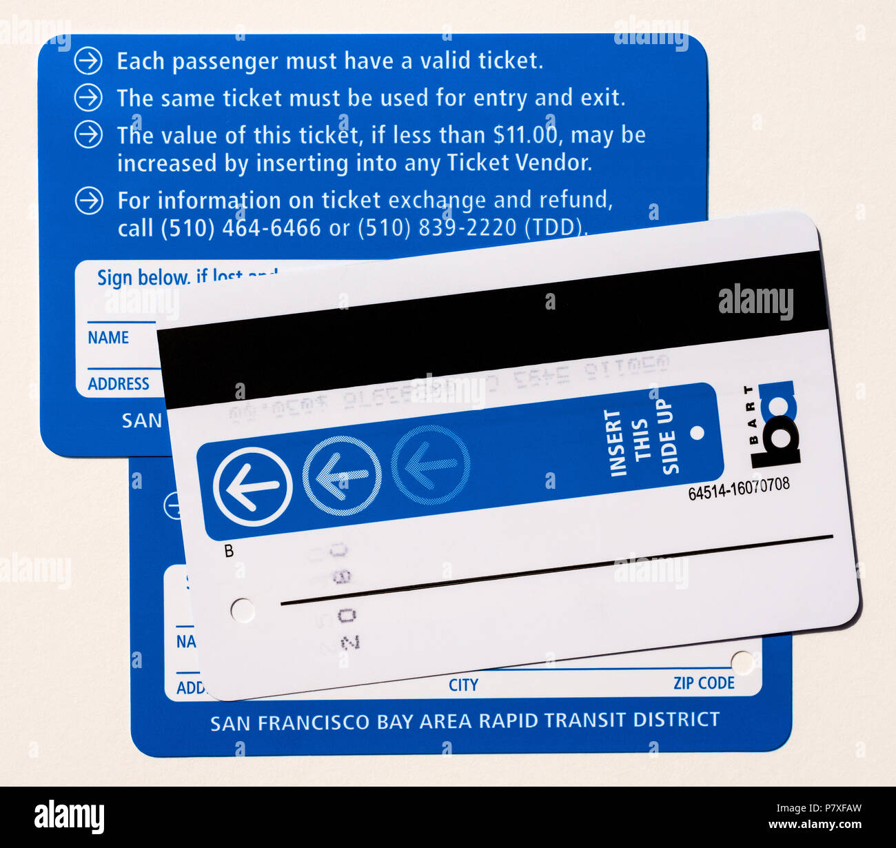 BART transport tickets and MUNI Passoprt, San Francisco, USA. - Stock Image