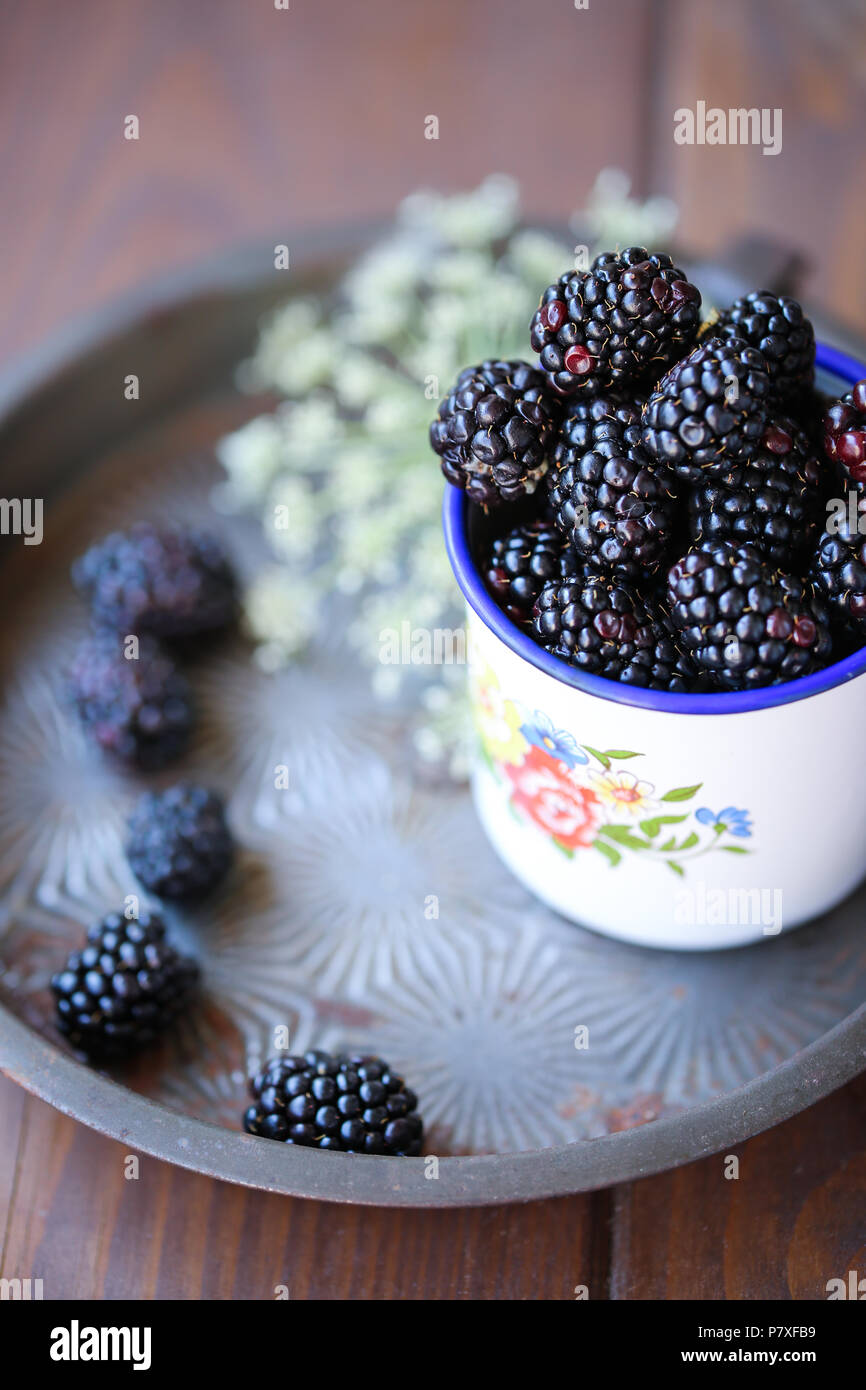 Fresh garden Blackberries in a white vintage cup Stock Photo