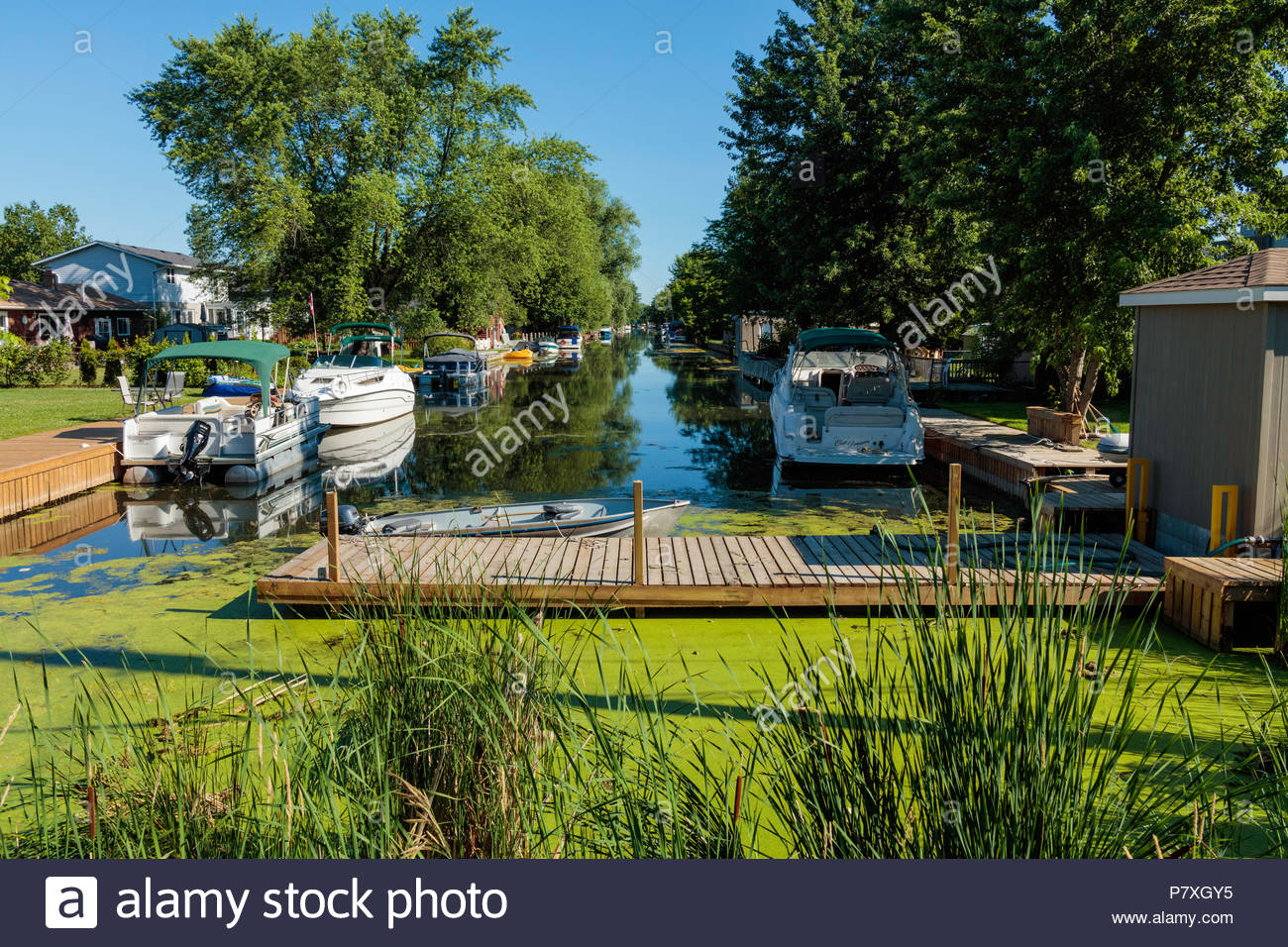 Recreational boat canal in a polder marsh near Lake Simcoe and Bradford Ontario Canada Holland Marsh - Stock Image