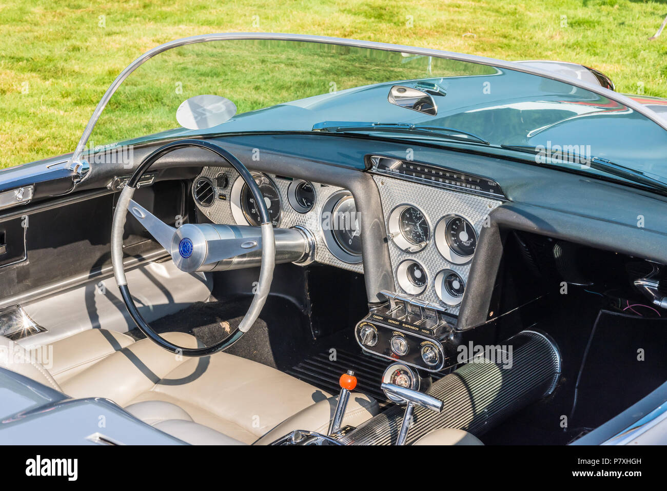 GROSSE POINTE SHORES, MI/USA - JUNE 17, 2018: Close-up of a 1959 Cadillac Cyclone Concept dashboard at the EyesOn Design show, near Detroit, Michigan. - Stock Image