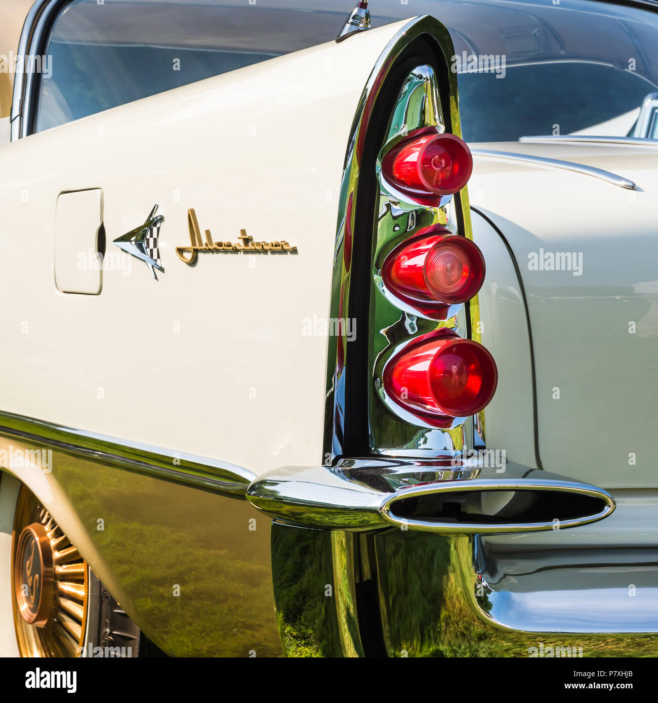 GROSSE POINTE SHORES, MI/USA - JUNE 17, 2018: Closeup of a 1957 DeSoto Adventurer taillight and fin at the EyesOn Design show, near Detroit, Michigan. - Stock Image