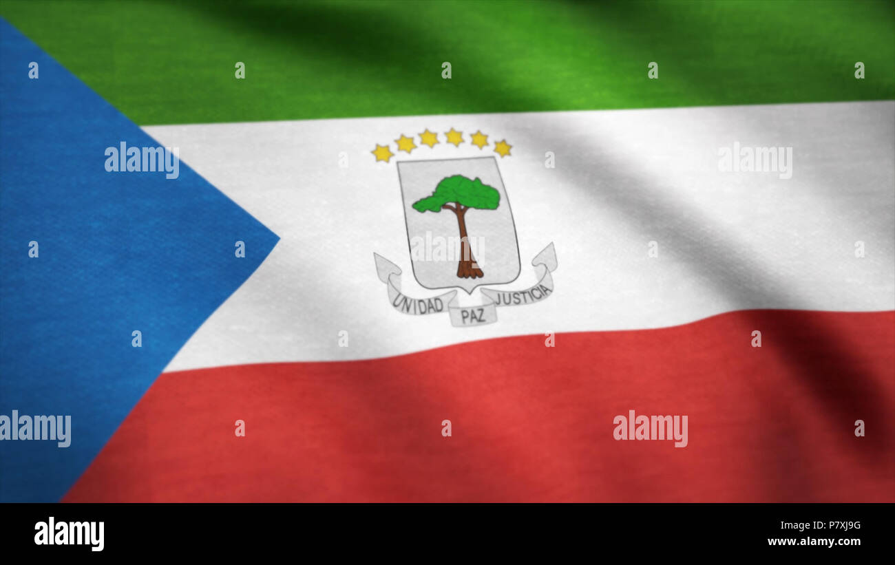 Equatorial Guinea flag waving animation. 4K Seamless Loopable Flag of Equatorial Guinea - Stock Image
