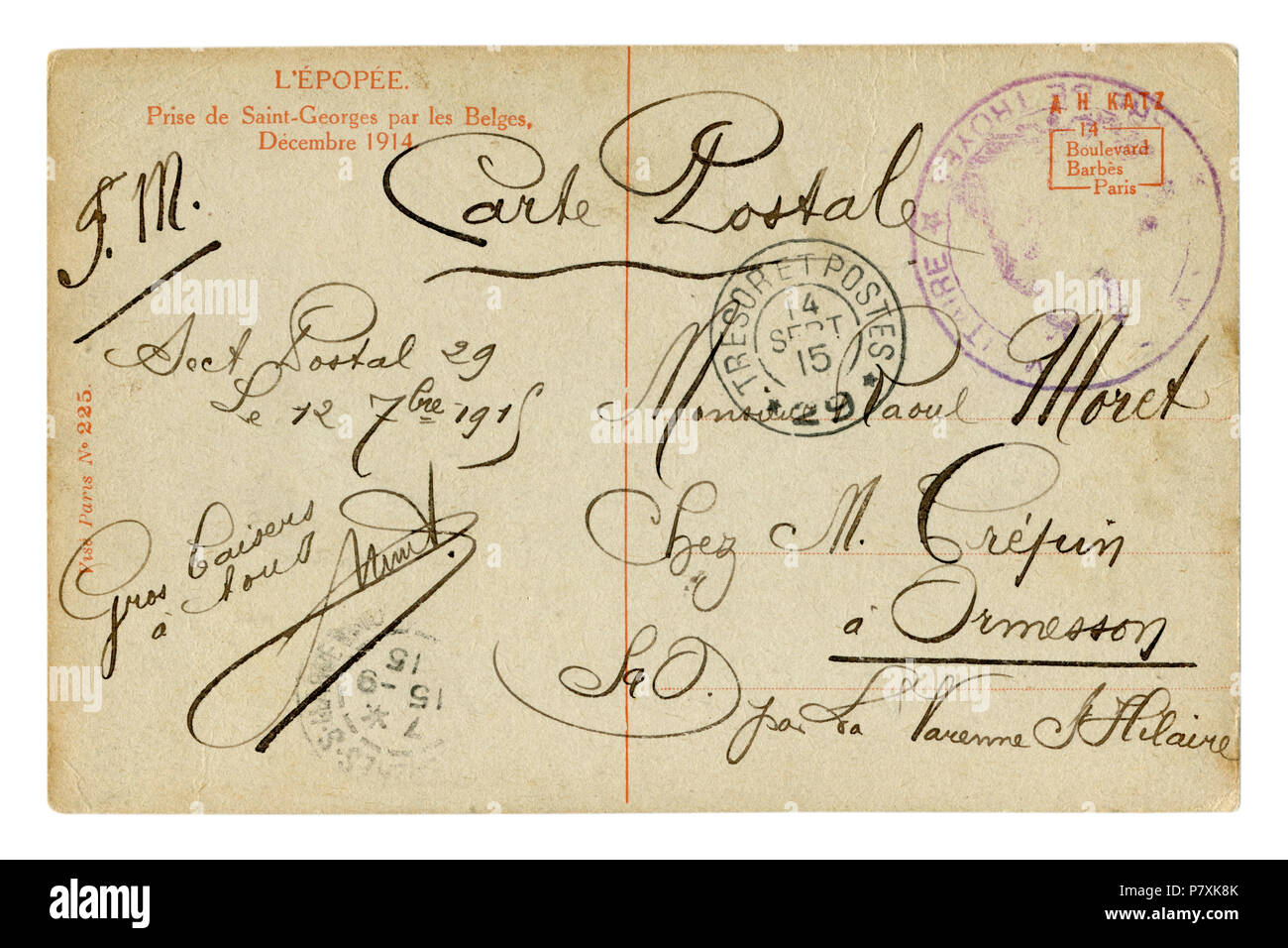 Back of historical French postcard. Beautiful calligraphic handwriting, the text of the letter is written in black ink with curls. Postmark 1915 - Stock Image