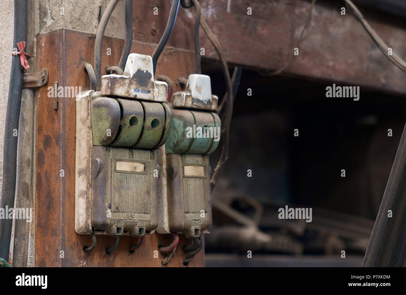 View of old and dirty switch in the factory. - Stock Image