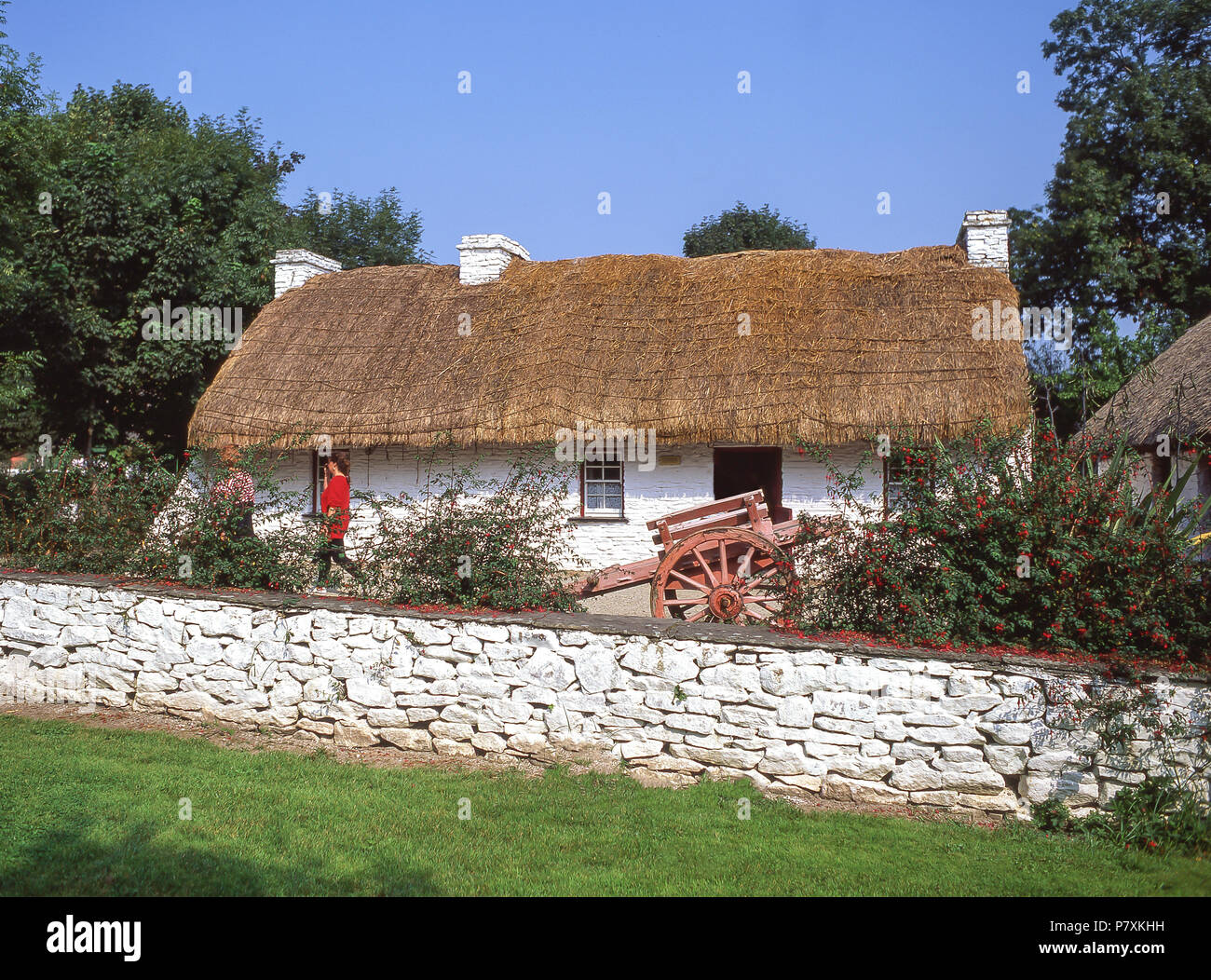 Traditional croft cottage, Bunratty Folk Park, Bunratty, County Clare, Munster Province, Republic of Ireland - Stock Image