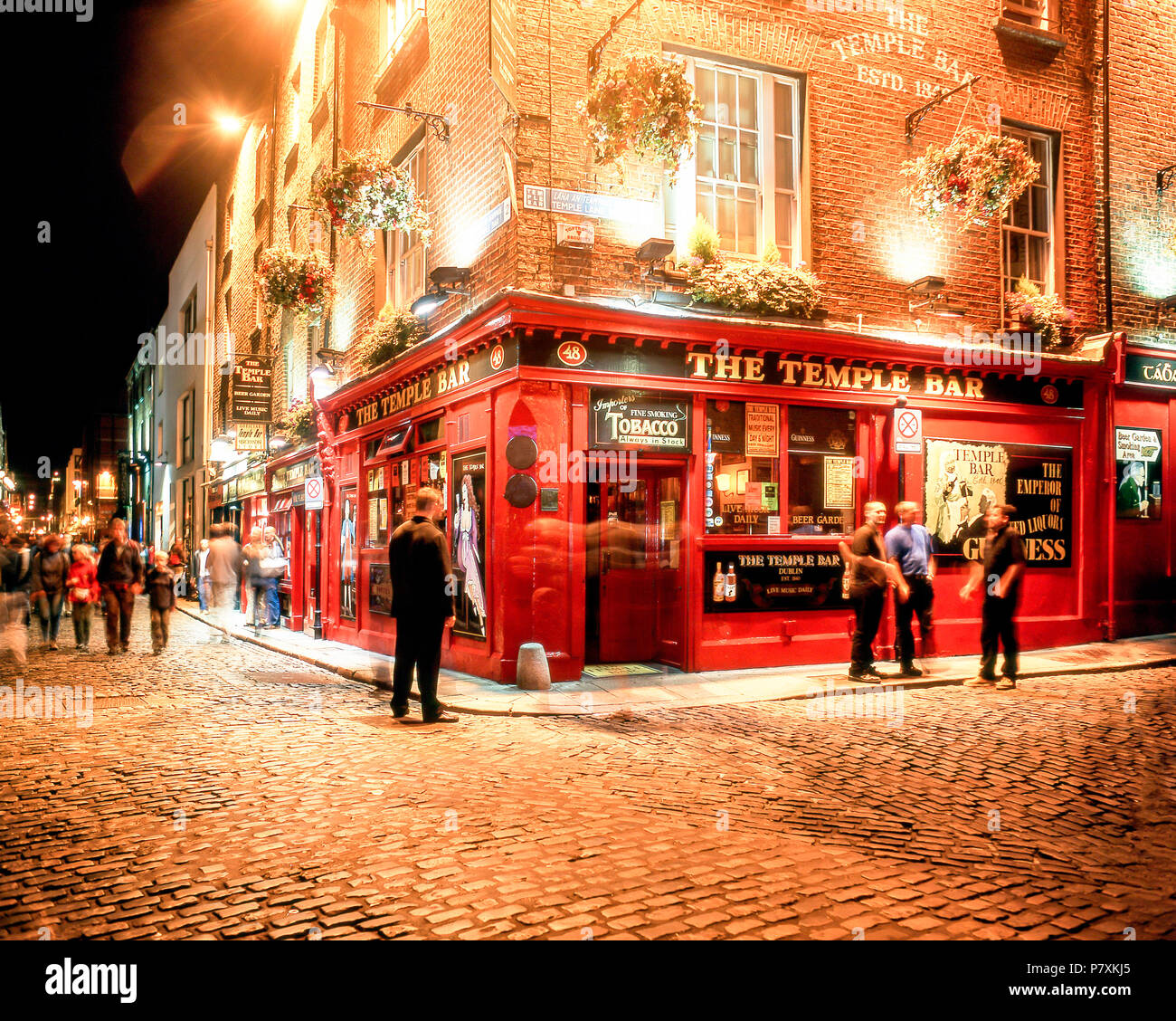The Temple Bar Pub at night, Temple Bar, Dublin, Leinster Province, Republic of Ireland - Stock Image