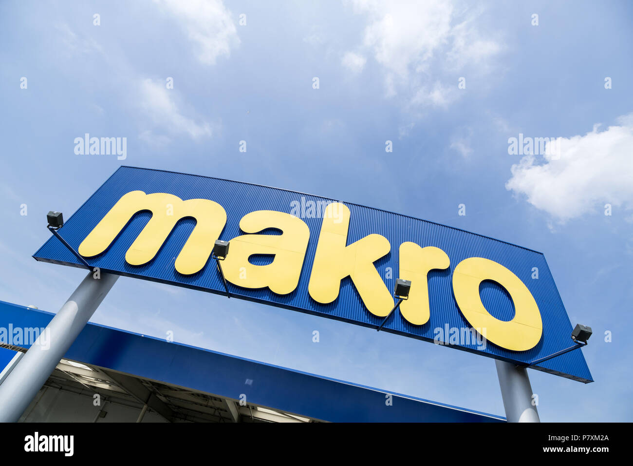 Makro sign at branch. Makro is an international brand of Warehouse clubs, also called cash and carries. - Stock Image
