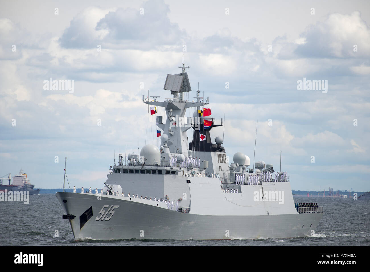 Chinese Type 054A (NATO Jiangkai II) multi-role frigate Binzhou (515) during Naval Parade to celebrate 100th annversary of Polish Navy in Gdynia, Pola - Stock Image