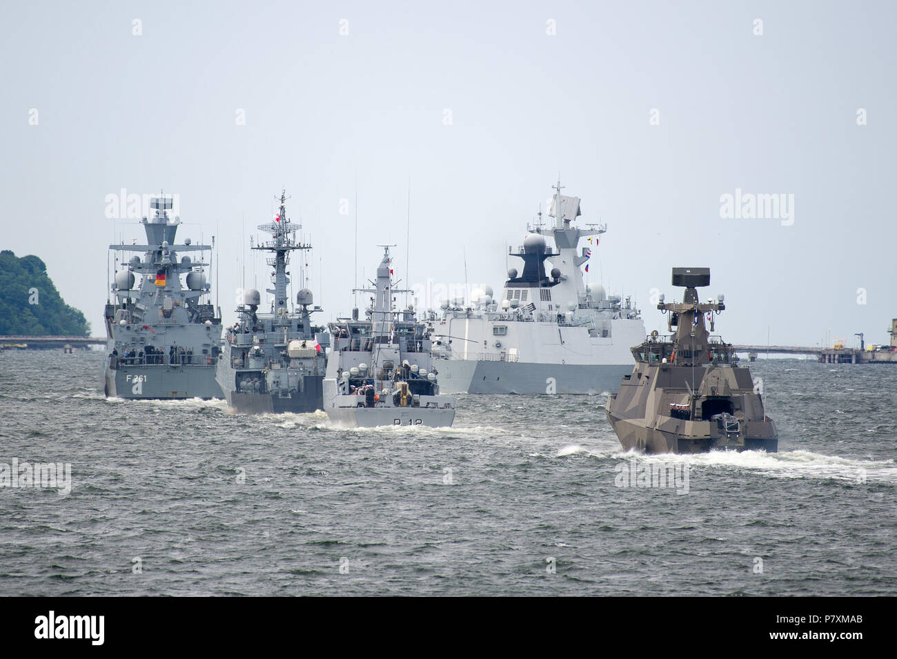 German K130 Braunschweig class corvette F261 Magdeburg during Naval Parade to celebrate 100th annversary of Polish Navy in Gdynia, Poland. June 24th 2 - Stock Image
