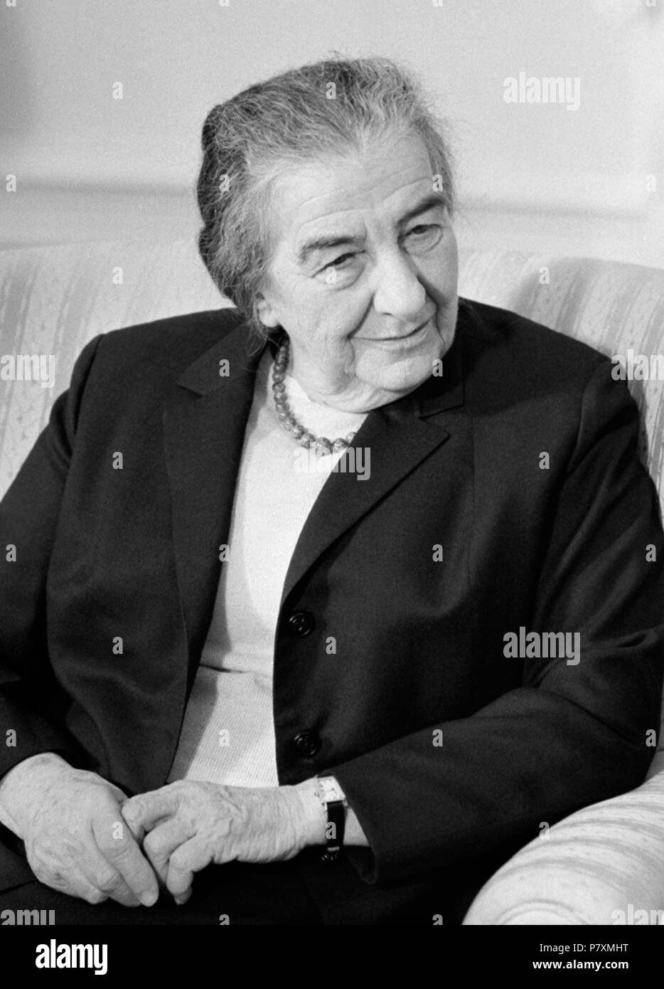 Israeli Prime Minister Golda Meir meeting in the Oval Office of the White House with President Richard M. Nixon on March 1, 1973. - Stock Image