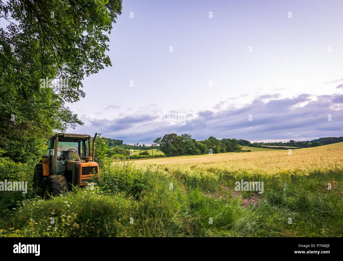 An abandoned tractor rusts by a field in the Chilterns - Stock Image