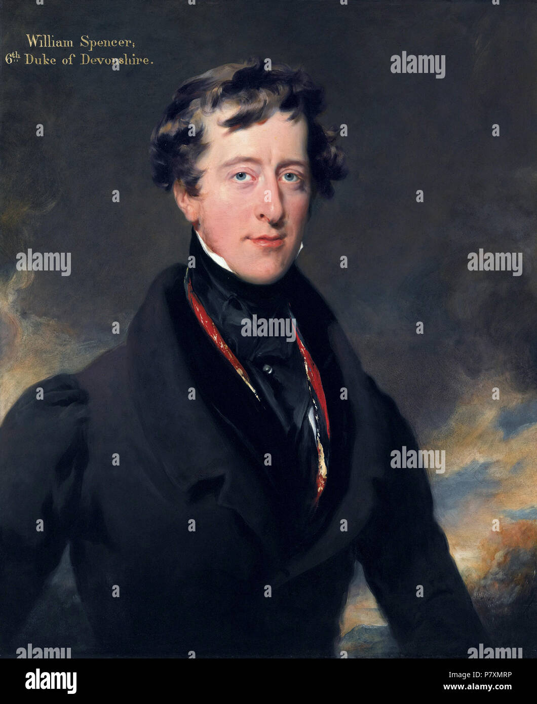William Spencer Cavendish, 6th Duke of Devonshire (1790-1858). Painting by Thomas Lawrence  William George Spencer Cavendish, 6th Duke of Devonshire, Marquess of Hartington, British peer, nobleman, and Whig politician. The Cavendish banana is named after him. - Stock Image
