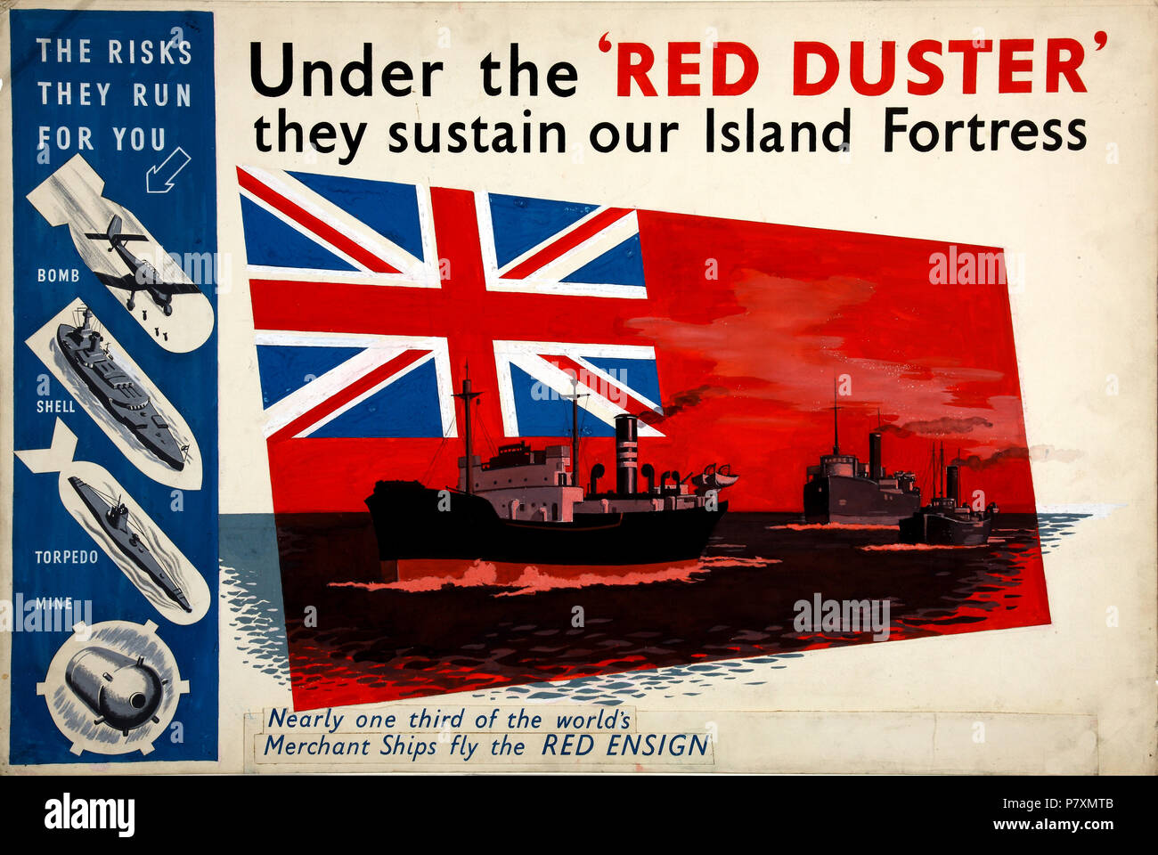 Second World War poster highlighting wartime dangers that the Merchant Navy faced  red ensign - Stock Image