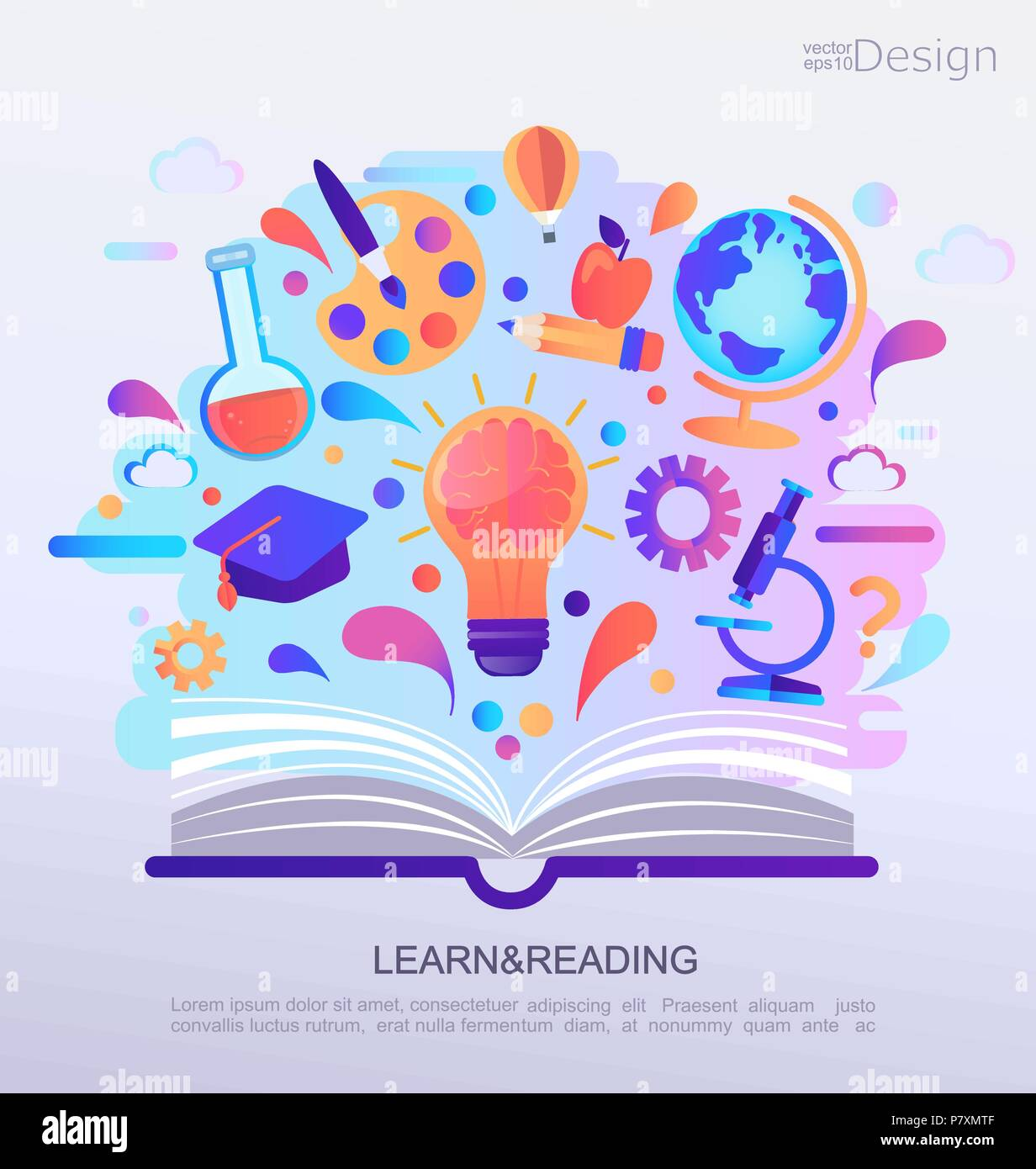 Education Infographic Concept Banner Open Book With Signs And