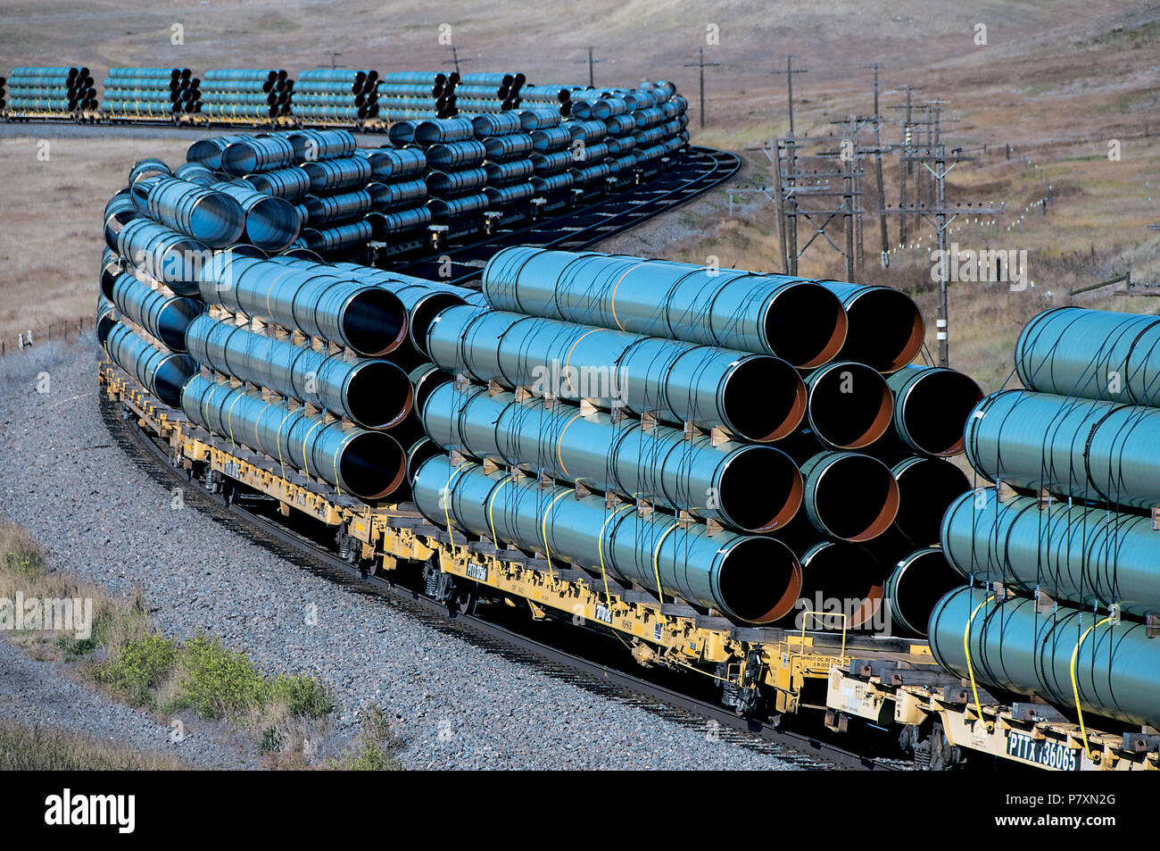 Trainload of Pipe - Stock Image