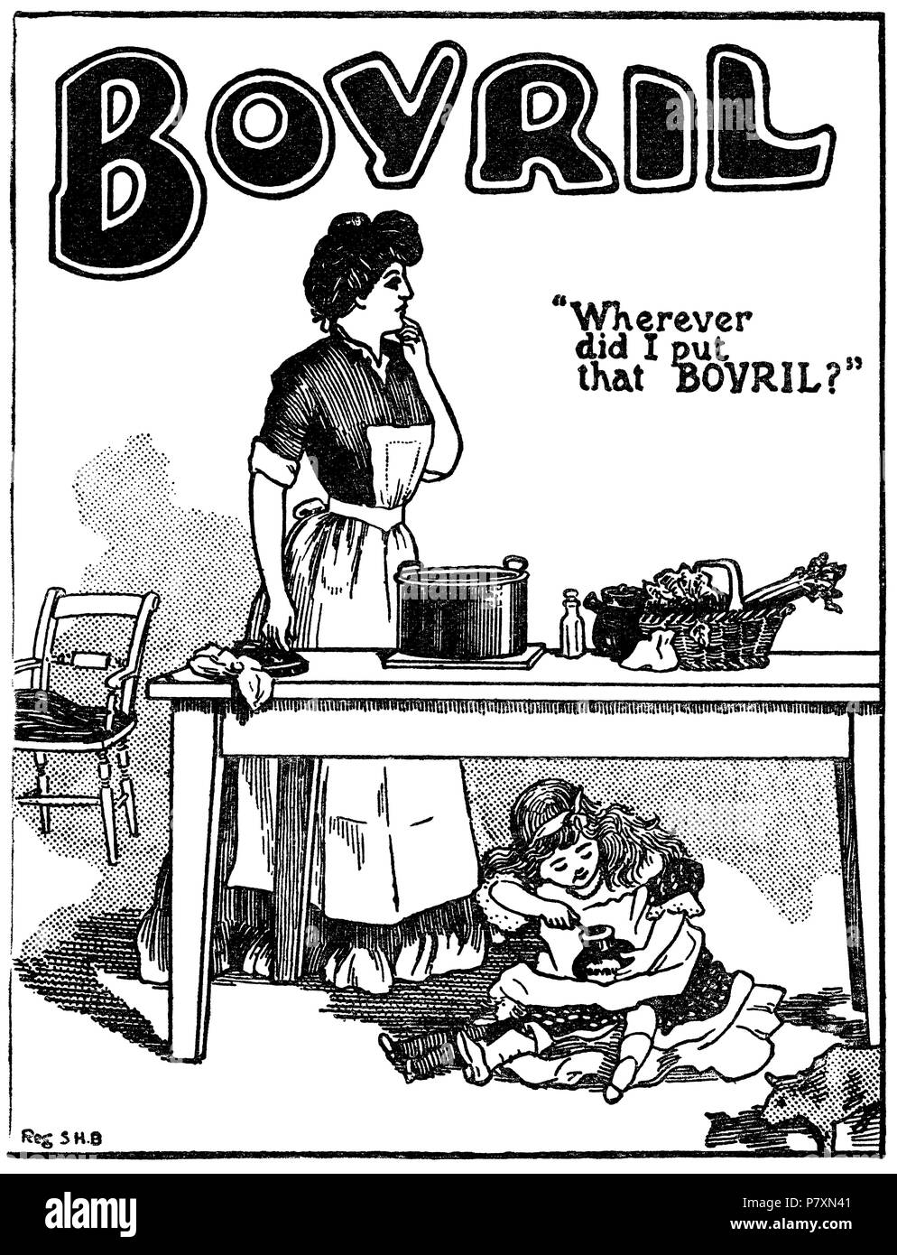 1904 British advertisement for Bovril beef extract. - Stock Image