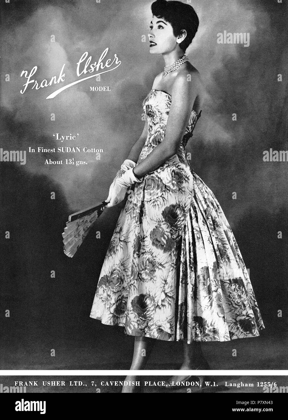 1956 British advertisement for Frank Usher dresses. - Stock Image