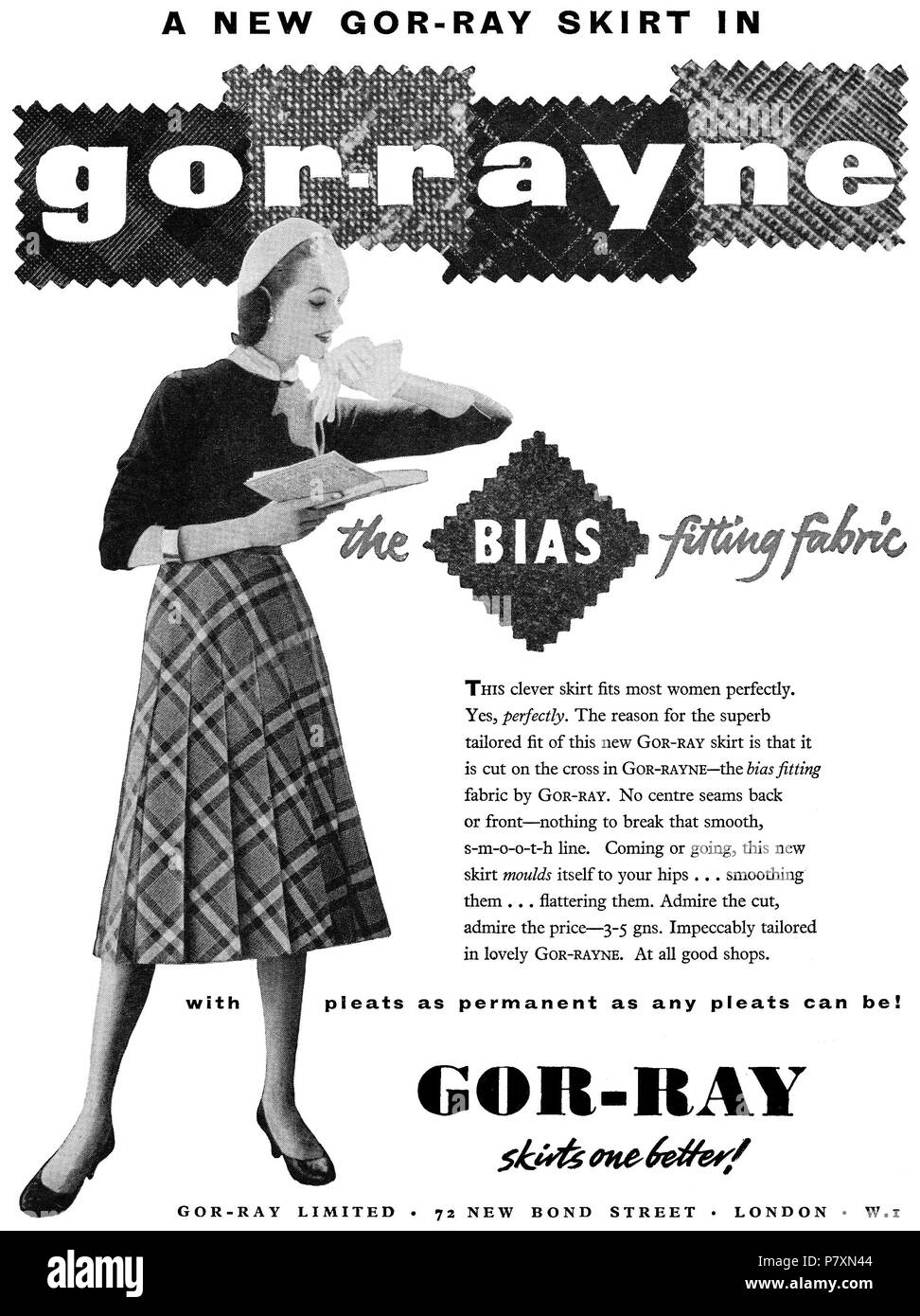 1956 British advertisement for Gor-Ray skirts. - Stock Image