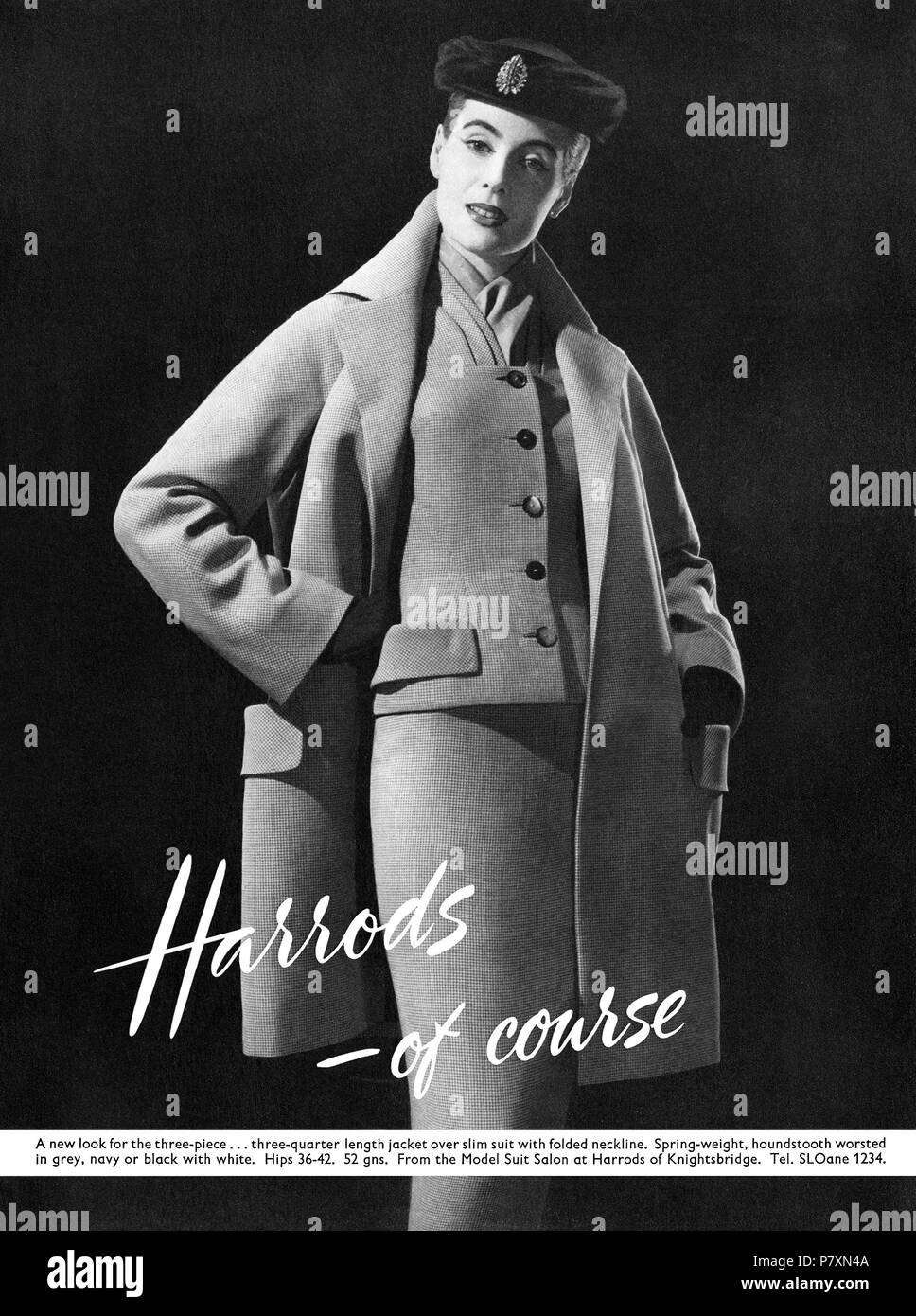 1956 British advertisement for Harrods department store Model Suit Salon. - Stock Image