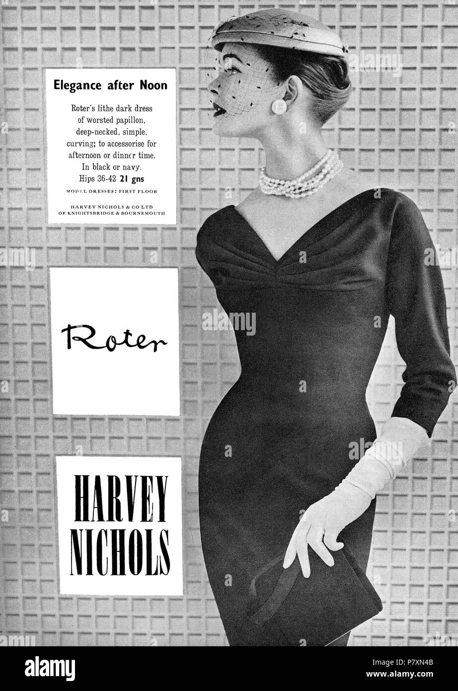 1956 British advertisement for Harvey Nichols department store. - Stock Image