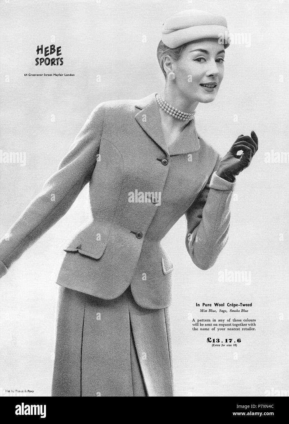 1956 British advertisement for Hebe Sports skirt suit. - Stock Image