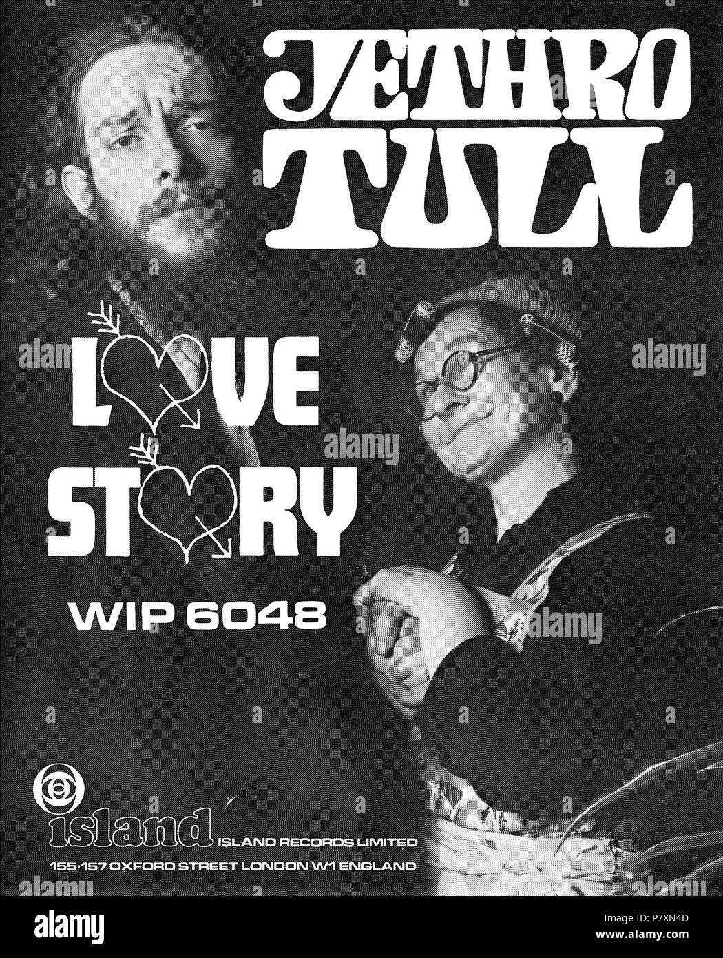 1968 British advertisement for the 7' 45 rpm single Love Story by Jethro Tull on Island Records, showing Ian Anderson. - Stock Image