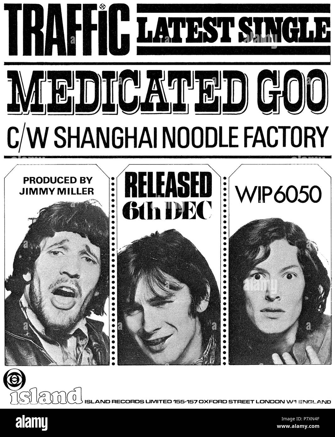 1968 British advertisement for the 7' 45 rpm single Medicated Goo by Traffic on Island Records, showing Jim Capaldi, Chris Wood and Stevie Winwood. - Stock Image