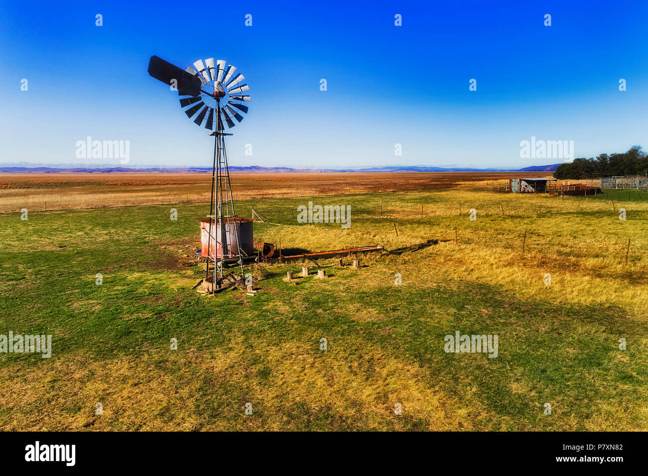 Single historic self winding wind mill pumping water in remote cattle farm on dry plain of Lake George country in regional NSW outback on a sunny day  - Stock Image