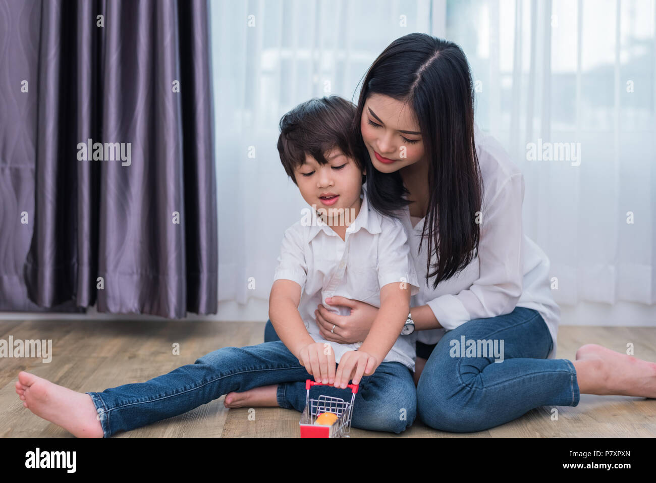 Asian mommy and son