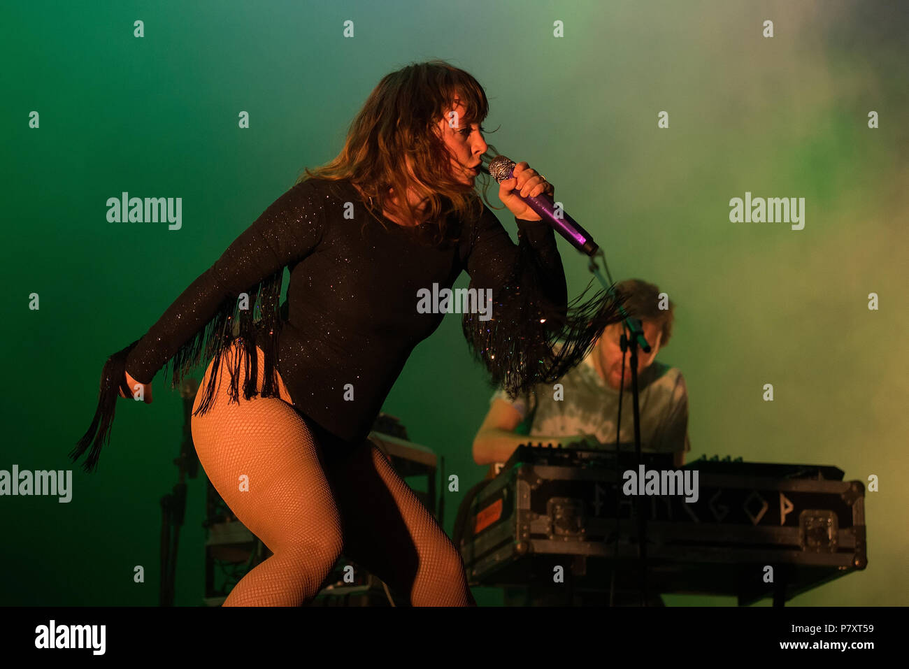 BARCELONA - MAY 31: Sylvan Esso (band) perform in concert at Primavera Sound Festival on May 31, 2018 in Barcelona, Spain. - Stock Image