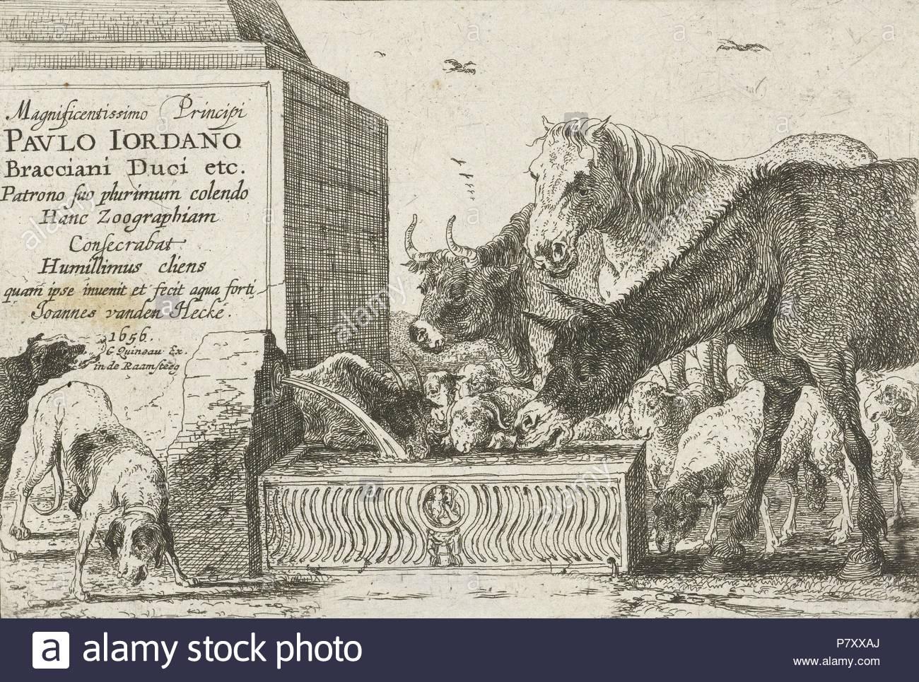 Animals at a fountain, Jan van den Hecke (I), 1656.