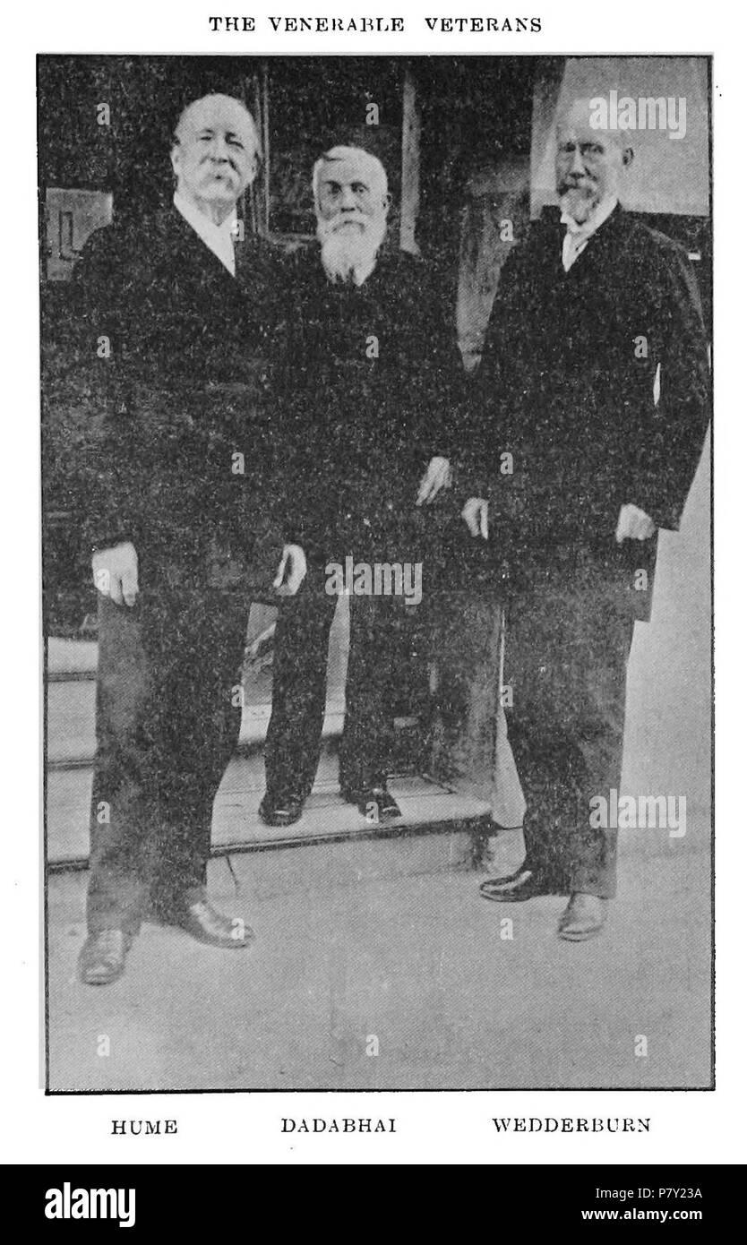 A.O. Hume, Dadabhai Naoroji and William Wedderburn - founders of the Indian National Congress . published 1917, photo taken before 1913 200 HumeWedderburnNaoroji - Stock Image