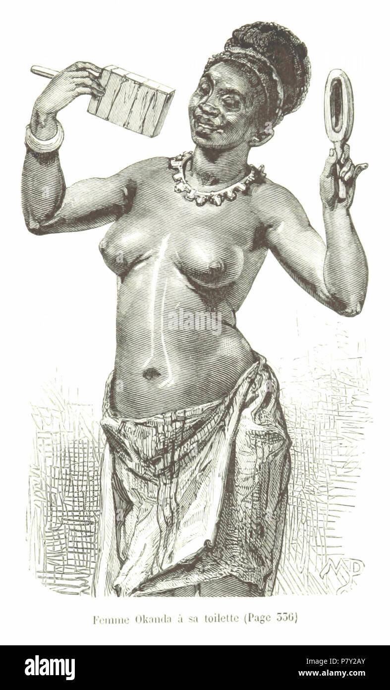 395 Femme Okanda à sa toilette. - Stock Image