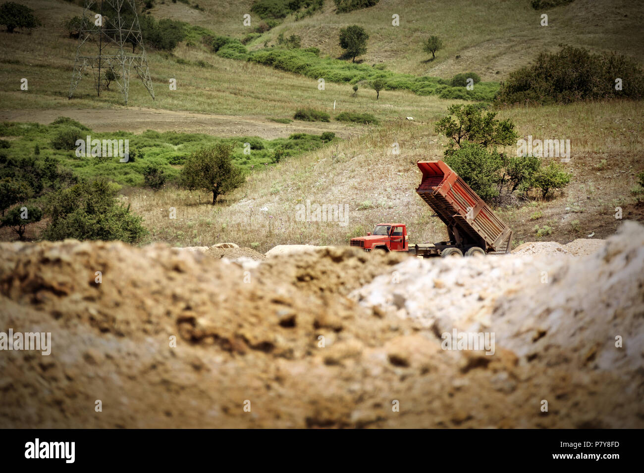 an image of working truck - Stock Image