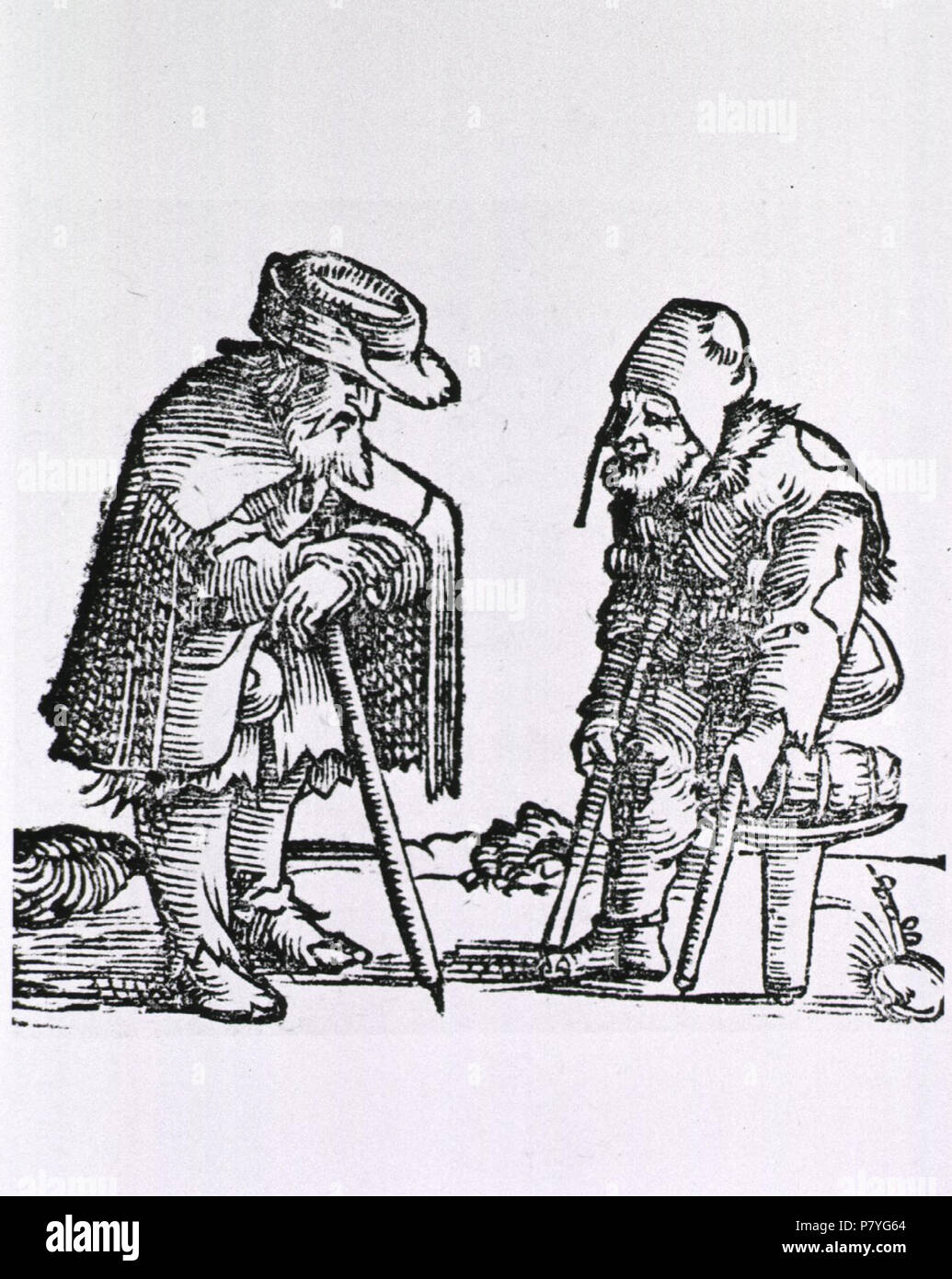 1577 or 1582 293 Old man with cane meets old man with one leg