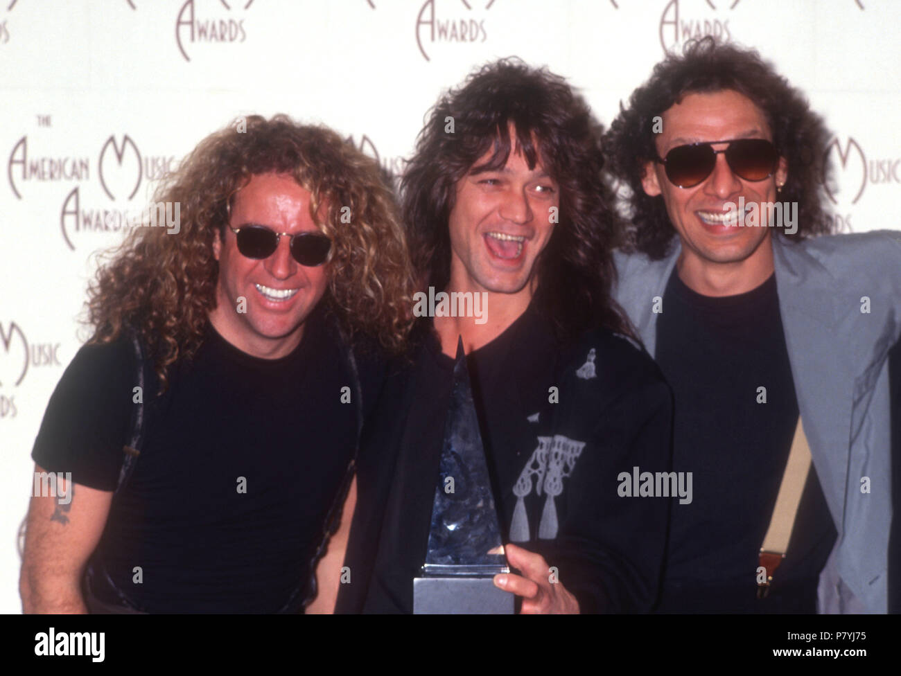 Los Angeles Ca January 27 L R Musicians Sammy Hagar Eddie Van Halen And Alex Van Halen Of Van Halen Attend The 19th American Music Awards On January 27 1992 At The