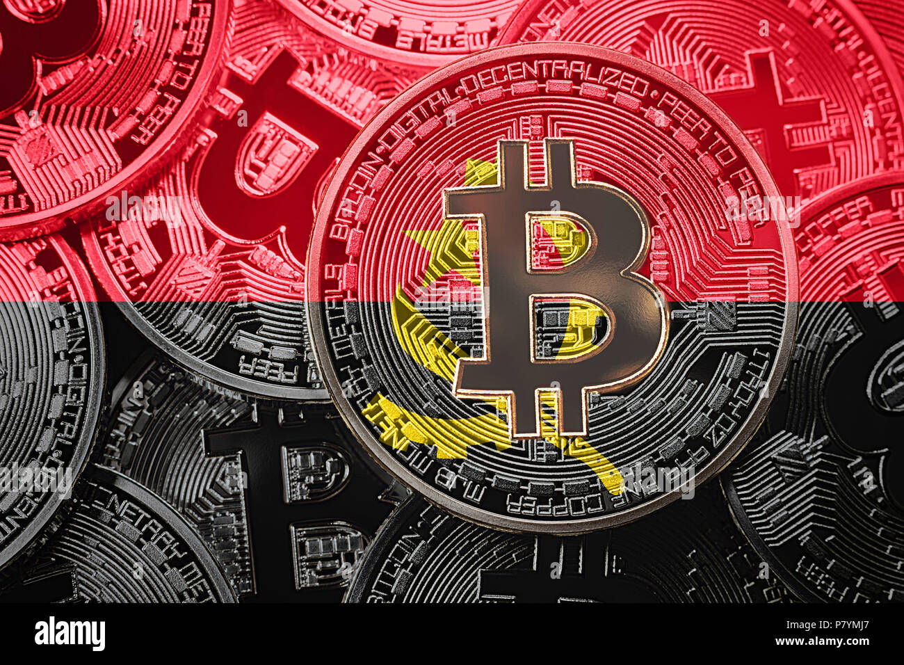 Stack of Bitcoin Angola flag. Bitcoin cryptocurrencies concept. BTC background. - Stock Image